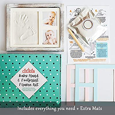 Baby Hand and Footprint Kit in Rustic Farmhouse Frame, a Baby Registry Must Have - Baby Handprint Kit | Baby Footprint Kit | Baby Nursery Decor