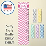321Done Personalized Hanging Growth Chart, Pink Chevron with Name, Height Ruler Measurement, Vinyl Banner Nursery Wall Decor Baby, Made in USA