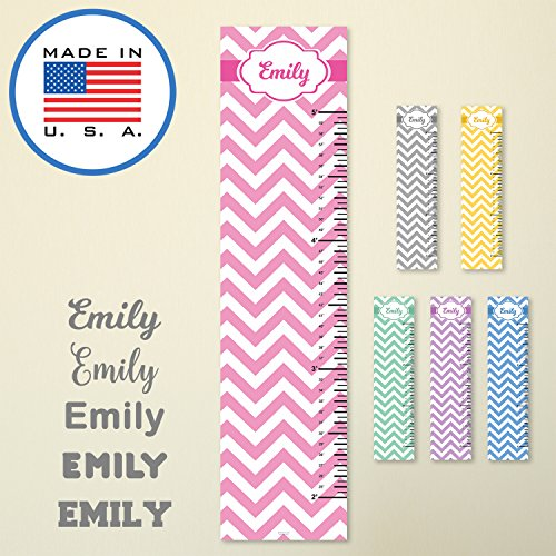 321Done Personalized Hanging Growth Chart, Pink Chevron with Name, Height Ruler Measurement, Vinyl Banner Nursery Wall Decor Baby, Made in USA by 321Done