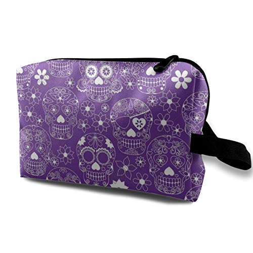 Purple Floral Sugar Skull Storage Bag Women Cosmetic Train Case Pouch - Multifunction Tote Bag Pencil Bag, Carry On Bag for Makeup Brushes, Pens, Eyeliner, Travel, Cash