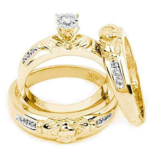 Jewel Tie Sizes - L = 7, M = 8.5-10k Yellow Gold Diamond Matching Claddagh Men's Trio Mens & Womens Trio Wedding Band Ring Set 1/8 Cttw.