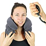 Cervical Neck Traction Pillow by Vive - Inflatable Home Pillow Stretcher Device Unit for Chiropractic Back Pain Relief, Spine Support & Posture - Adjustable Air Pump System for Travel & Stiff Neck