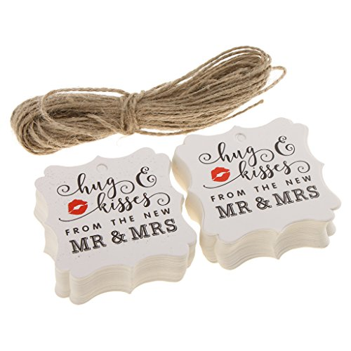 MonkeyJack 100pcs Rustic Kraft Paper Gift Tags Labels Luggages Mr Mrs Valentine's Day Wedding Engagement Strings Twine 6 x 6 cm - White, 6 x 6 cm ()