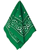 "Multi-Purpose Bandana Western Cowboy Costume Party Headwear, Green, Fabric, 20"" x 20""."