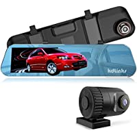KDLINKS R100 Ultra HD 1296P Front + 1080P Rear 280° Wide Angle Anti-Glare Rearview Mirror Dual Lens Dash Cam with IPS 5 Screen, Superior Night Mode, Advanced Dashcam Parking Mode, Support 64/128GB