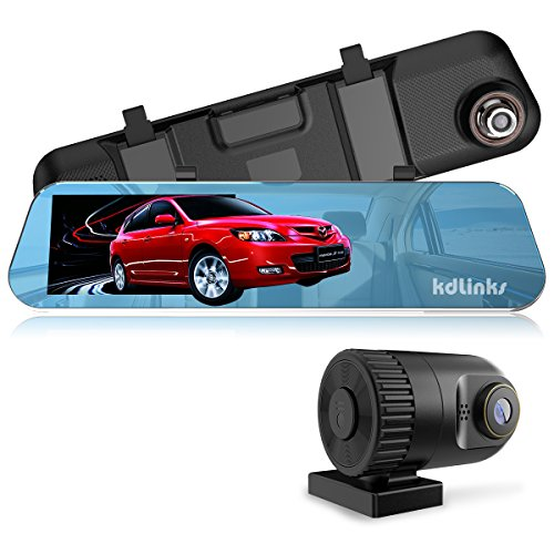 KDLINKS R100 Ultra HD 1296P Front + 1080P Rear 280° Wide Angle Anti-Glare Rearview Mirror Dual Lens Dash Cam with IPS 5