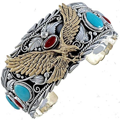 - Gold Silver Turquoise Mens Cuff Big Boy Eagle Bracelet