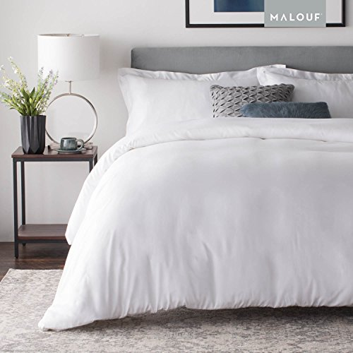 White Woven Bamboo - MALOUF MA25KKWHBD Woven Rayon from Bamboo Set-Best Fitting Duvet Cover-8 Corner and Side Loops-King-White