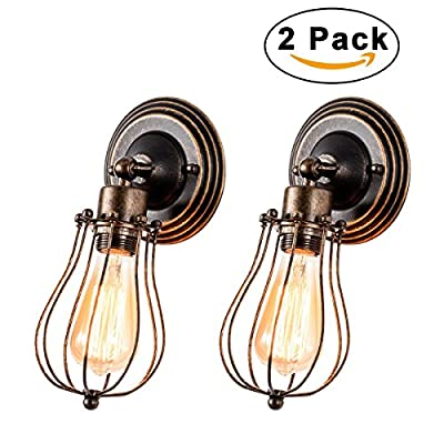 Gladfresit Vintage Wall Sconce Industrial Lighting Adjustable Socket Rustic 1 light Wire Metal Cage Wall Lamp Indoor Home Retro Oil Rubbed Bronze Lights Fixture (2 Pack)