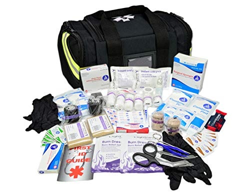 - Lightning X Value Compact Medic First Responder EMS/EMT Stocked Trauma Bag w/Basic Fill Kit A - Black