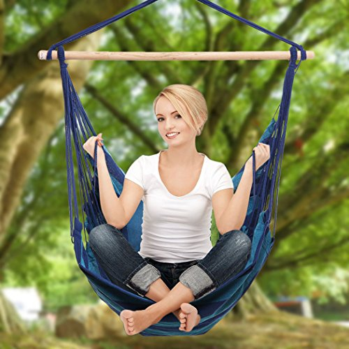 YUEBO Hanging Hammock Chair Porch Swing Chair for Indoor or Outdoor Spaces 265lbs Weight Capacity Blue