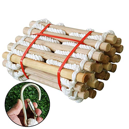 5 Meters Rope Ladder Soft Ladder Climbing Non-Slip Rope Ladder Emergency Work Safety Respoanse Fire Rescue Rock Climbing Stories Escape Fitness Training Ladder Round Wooden Stick