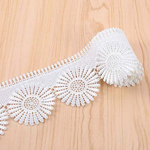 (VU100 Scalloped Lace Edge Trim Eyelet 2-3/8 Inch, 2 Yards Venice Floral Applique White Lace Trims Ribbon Embroidered, for Sewing Bridal Wedding DIY Craft)