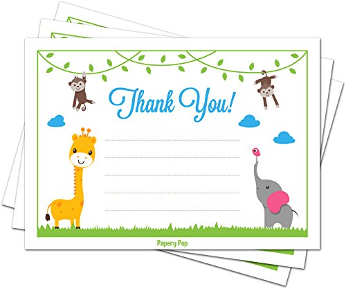 30 Baby Shower Thank You Cards Boy or Girl (with Envelopes) - Gender Neutral - Baptism or Kids Birthday Party Thank You Notes