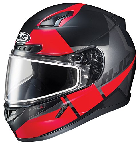 (HJC Helmets Unisex-Adult Full-face Style CL-17 Boost Snow Helmet with Dual Lens Shield Black/Red X-Large)