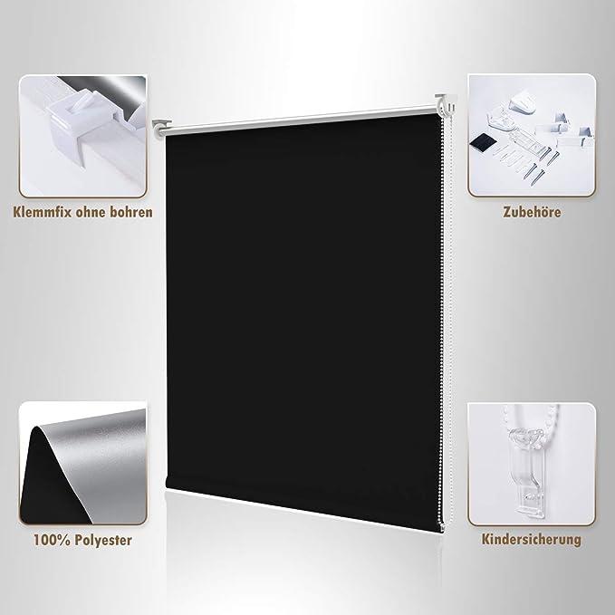 NoCon Store occultant thermique sans per/çage Klemmfix 40x150cm Noir classique. BxH