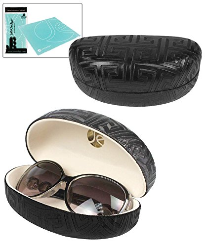 JAVOedge Black Maze Textured Pattern Hard Clamshell Eyeglass / Sunglass - Sunglasses Case Designer