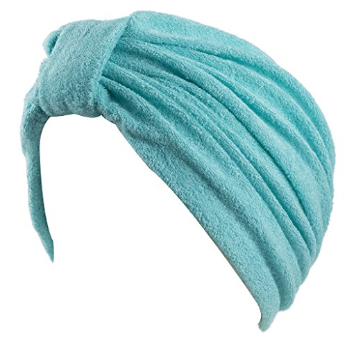 Head Cover for Ladies Women's Swim Bathing Turban / Cap - Great for women with Cancer Chemo Therapy – Terry With Knote Turquiose (Cover Cloth Swim Terry)