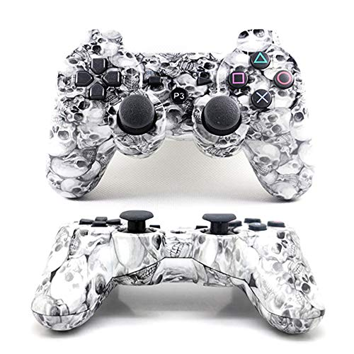 [2 Pack] PS3 Controller Wireless Dualshock Bluetooth Camouflage Game Controller Wireless Dualshock Joystick Vibration Sixaxis Remote Gamepad for PS3 Playstation 3 (White - Ps3 Controller Wireless White