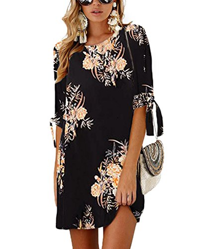 YOINS Women Mini Dress Round Neck Random Floral Print Self-tie at Sleeves Mutil Color Black XL