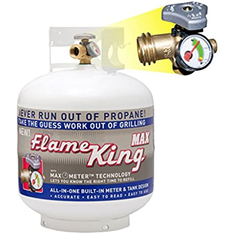 Flame King YSN230 Steel Propane Cylinder With Overflow Protection Device Valve And Built In Gauge 20 Pound