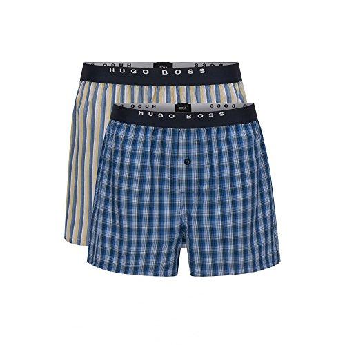 Hugo Boss 2-Pack Check & Stripe Men's Boxer Shorts, Blue Medium Blue/White/Yellow