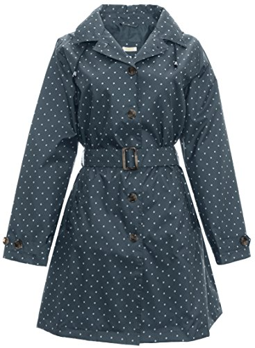 Capelli New York Ladies Mid Length Simple Dot Print Trench Rain Slicker with Belt Navy Combo X-Large