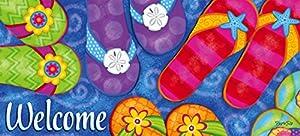 Evergreen Flag Sunny Flip Flops Decorative Mat Insert, 10 x 22 inches
