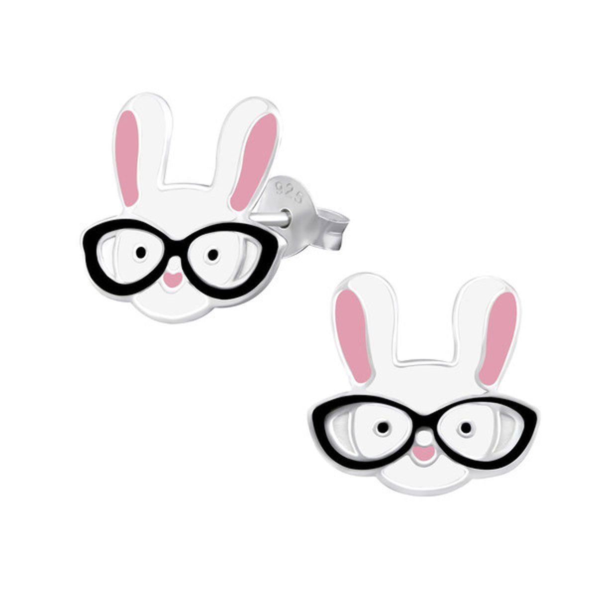Cute White Rabbit Glasses Studs Earrings Easter Nickle Free Girls Stering Silver 925 (E31982)