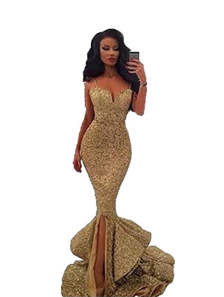 Angela Women's Spaghetti Strap Sequined Mermaid Long Evening Prom Dress With Slit Gold 6
