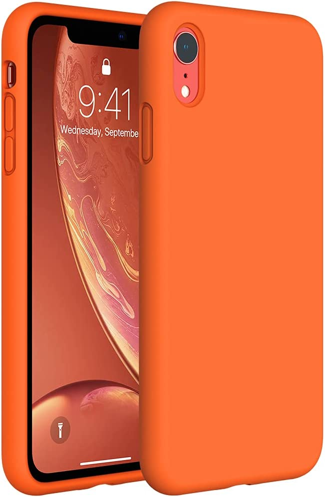 Miracase Liquid Silicone Case Compatible with iPhone XR 6.1 inch (2018), Gel Rubber Full Body Protection Shockproof Cover Case Drop Protection Case (Orange)