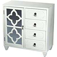 Heather Ann Creations 4 Drawer Wooden Accent Chest and Cabinet, Clover Pattern Grille with Mirrored Backing, 30.75H x 29.5W, Antique White
