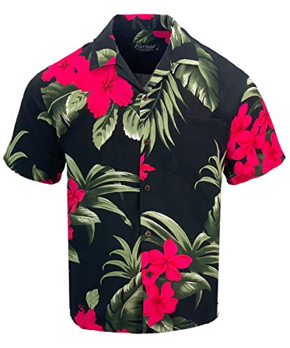 Tropical Luau Beach Floral Print Men's Hawaiian Aloha Shirt (X-Large, Black/Pink) -