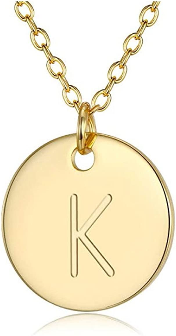 14K Gold Plated 925 Sterling Silver 6mm Disc Dainty Letter Pendant Necklace Personalized Initial Heart Engraved Jewelry Women Girls Birthday Mothers Gift