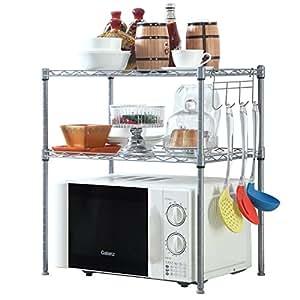 HOMFA Kitchen Microwave Oven Rack Shelving Unit,2-Tier Adjustable Stainless Steel Storage Shelf