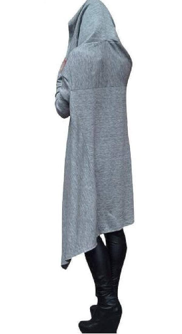 SHOWNO Women Sweatshirt Solid Color Plus Size Casual Hoodie Irregular Hoodie Pullover
