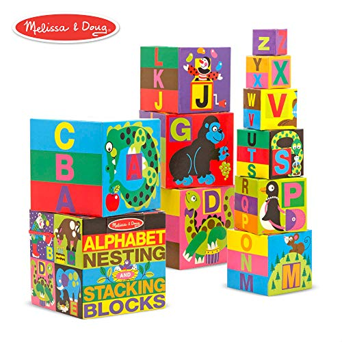 Melissa & Doug Alphabet Nesting and Stacking Blocks (Developmental Toys, Easy Storage, Durable Construction, 10 Cardboard Nesting Boxes)