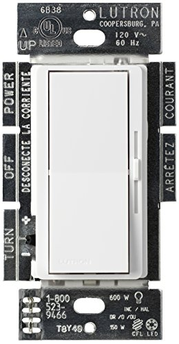 Switched Double Wall Light - Lutron Diva C.L Dimmer for Dimmable LED, Halogen and Incandescent Bulbs, Single-Pole or 3-Way, DVCL-153P-WH, White