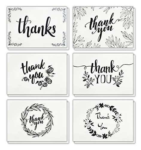 (120 Elegant White Kraft Paper Thank You Cards with Brown Kraft Envelopes and Stickers - 6 Designs Bulk Blank Notes for Wedding, Business, Formal, Baby Shower and All Occasions 4x6 Inch)