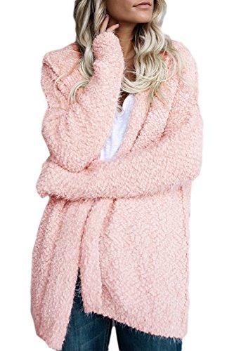 Mujeres Abierto Pink De De Capa Externa Calientes Invierno Casual Frente Superior Chaqueta Lana r7PrZwxfq
