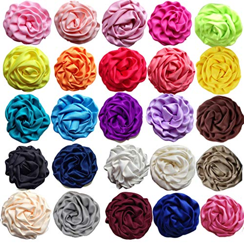 Fabric Rose Floral (KADIWOW 2.5 Inch Rosettes Satin Rose Fabric Flowers Hair Bow Headbands Making Embellishments (25pcs of Pack))