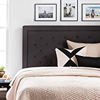 LUCID Upholstered Headboard with Diamond Tufting - Queen - Charcoal