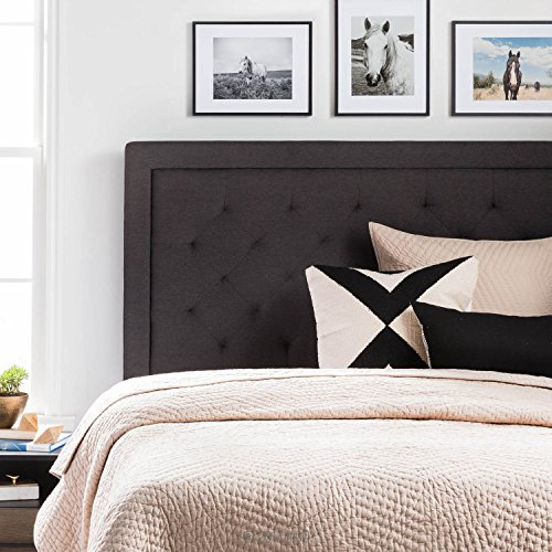 LUCID Upholstered Headboard with Diamond Tufting - Queen - Charcoal (Tall Upholstered Headboards For Queen Beds)