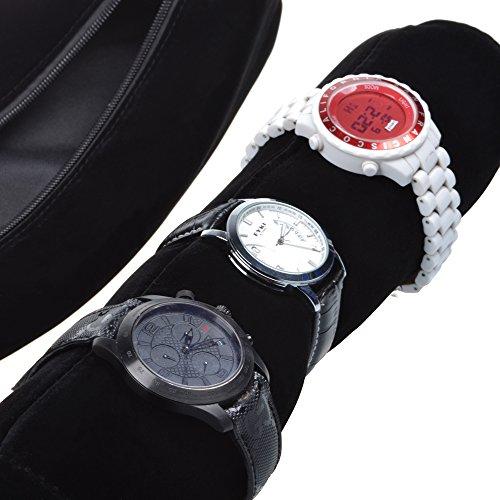 Cosmos ® Black Color Velvet Watch and Bracelet Travel Storage Roll Bag with Black Removable Tube Velvet holder Photo #3