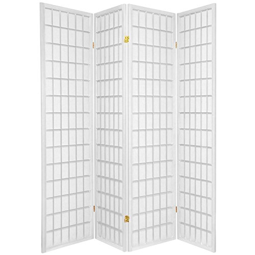 (ORIENTAL FURNITURE 6 ft. Tall Window Pane Shoji Screen - White - 4 Panels)