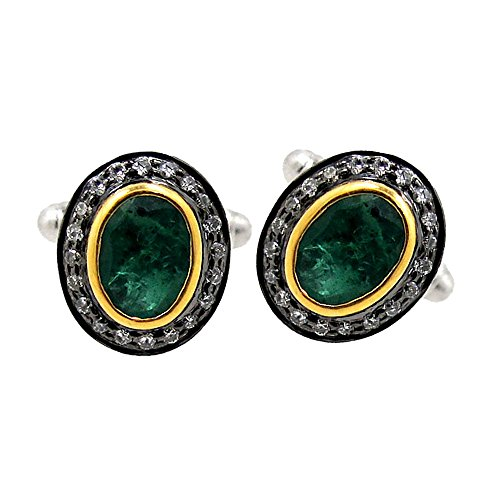Pave Diamond Emerald Gemstone Cufflinks Men's Wedding Party Wear Jewelry Supplier by Jaipur Handmade Jewelry