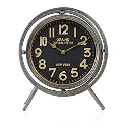 Kiera Grace HO60212-1 Grand Stand Metal Table Clock-16-Inch, Decorative, Nickel-Tone, Grey