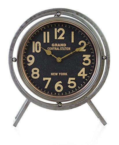 - Kiera Grace HO60212-1 Grand Stand Metal Table Clock-16-Inch, Decorative, Nickel-Tone, Grey