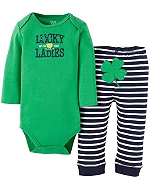 Carter's Just One You Baby Boys' Lucky with the Ladies 2-Piece Pant Set - Green