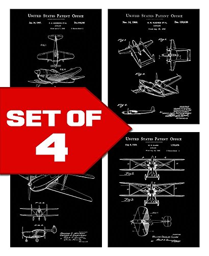 Wallables Wall Decor (Black Vintage Airplane Patents Set! Four 8x10 Aviation Themed Mens Wall Decor Art Prints. Great for Office, Home, Living Room, Bachelor Pad or Barbershop Decoration! By Mazzio Arts for The Dot Shop)